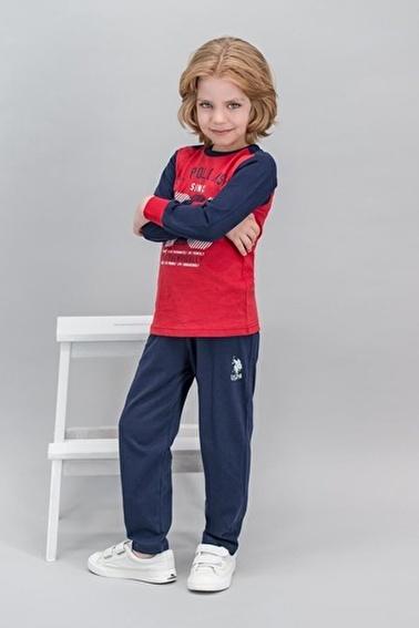 U.S. Polo Assn. U.S. Polo Assn Lisanslı Grimelanj Erkek Çocuk Pijama Takımı Kırmızı